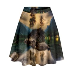 Sunset Dusk Sky Clouds Lightning High Waist Skirt