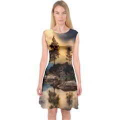 Sunset Dusk Sky Clouds Lightning Capsleeve Midi Dress