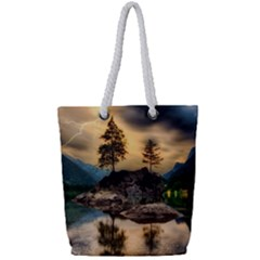 Sunset Dusk Sky Clouds Lightning Full Print Rope Handle Tote (small) by BangZart