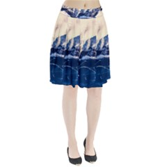 Antarctica Mountains Sunrise Snow Pleated Skirt
