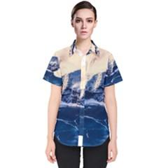 Antarctica Mountains Sunrise Snow Women s Short Sleeve Shirt
