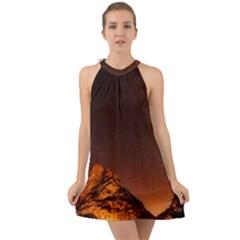 Italy Night Evening Stars Halter Tie Back Chiffon Dress