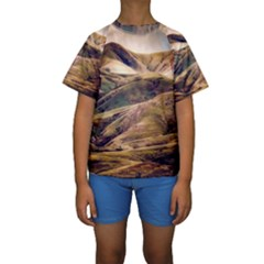 Iceland Mountains Sky Clouds Kids  Short Sleeve Swimwear