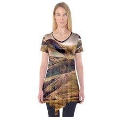 Iceland Mountains Sky Clouds Short Sleeve Tunic