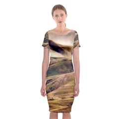 Iceland Mountains Sky Clouds Classic Short Sleeve Midi Dress