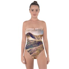 Iceland Mountains Sky Clouds Tie Back One Piece Swimsuit