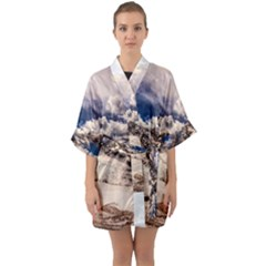 Italy Landscape Mountains Winter Quarter Sleeve Kimono Robe