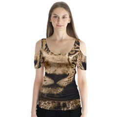 Jaguar Water Stalking Eyes Butterfly Sleeve Cutout Tee