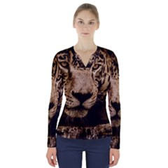 Jaguar Water Stalking Eyes V Neck Long Sleeve Top