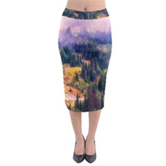 Landscape Fog Mist Haze Forest Midi Pencil Skirt