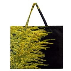 Golden Rod Gold Diamond Zipper Large Tote Bag