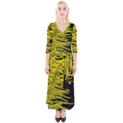 Golden Rod Gold Diamond Quarter Sleeve Wrap Maxi Dress