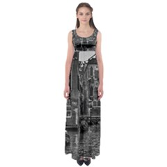 Venice Italy Gondola Boat Canal Empire Waist Maxi Dress