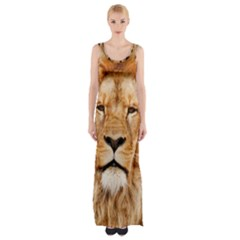 Africa African Animal Cat Close Up Maxi Thigh Split Dress