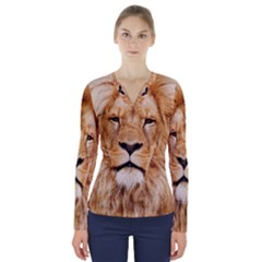 Africa African Animal Cat Close Up V Neck Long Sleeve Top