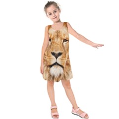 Africa African Animal Cat Close Up Kids  Sleeveless Dress