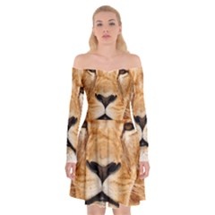 Africa African Animal Cat Close Up Off Shoulder Skater Dress