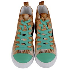 Africa African Animal Cat Close Up Women s Mid Top Canvas Sneakers