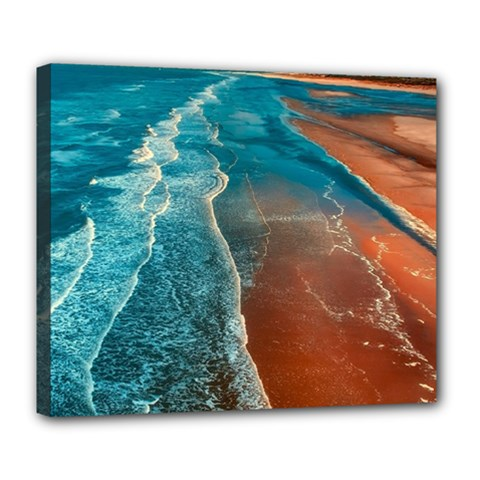 Sea Ocean Coastline Coast Sky Deluxe Canvas 24  X 20   by BangZart