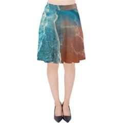 Sea Ocean Coastline Coast Sky Velvet High Waist Skirt