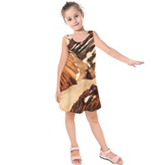 Iceland Mountains Snow Ravine Kids  Sleeveless Dress