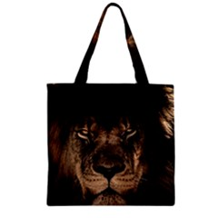 African Lion Mane Close Eyes Zipper Grocery Tote Bag