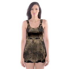 African Lion Mane Close Eyes Skater Dress Swimsuit