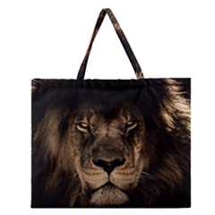 African Lion Mane Close Eyes Zipper Large Tote Bag