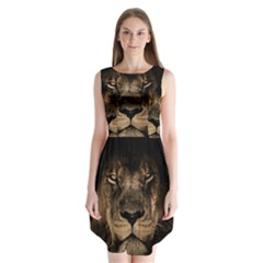 African Lion Mane Close Eyes Sleeveless Chiffon Dress