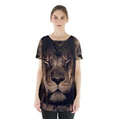 African Lion Mane Close Eyes Skirt Hem Sports Top