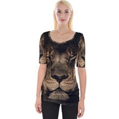 African Lion Mane Close Eyes Wide Neckline Tee