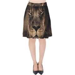 African Lion Mane Close Eyes Velvet High Waist Skirt