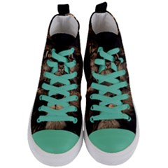 African Lion Mane Close Eyes Women s Mid Top Canvas Sneakers