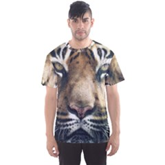 Tiger Bengal Stripes Eyes Close Men s Sports Mesh Tee