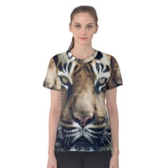 Tiger Bengal Stripes Eyes Close Women s Cotton Tee