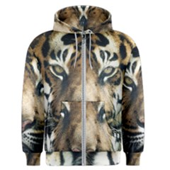 Tiger Bengal Stripes Eyes Close Men s Zipper Hoodie