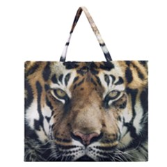 Tiger Bengal Stripes Eyes Close Zipper Large Tote Bag