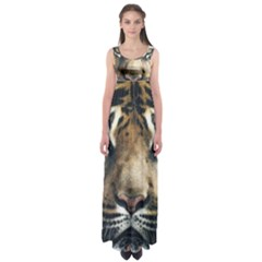 Tiger Bengal Stripes Eyes Close Empire Waist Maxi Dress