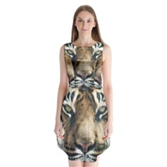 Tiger Bengal Stripes Eyes Close Sleeveless Chiffon Dress