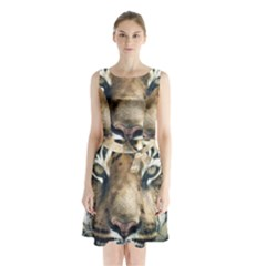 Tiger Bengal Stripes Eyes Close Sleeveless Waist Tie Chiffon Dress