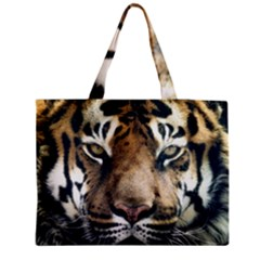 Tiger Bengal Stripes Eyes Close Zipper Medium Tote Bag