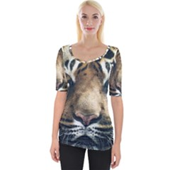 Tiger Bengal Stripes Eyes Close Wide Neckline Tee