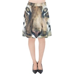 Tiger Bengal Stripes Eyes Close Velvet High Waist Skirt