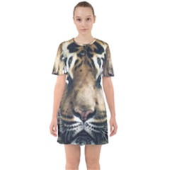 Tiger Bengal Stripes Eyes Close Sixties Short Sleeve Mini Dress