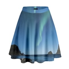 Aurora Borealis Lofoten Norway High Waist Skirt