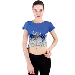 Crown Aesthetic Branches Hoarfrost Crew Neck Crop Top