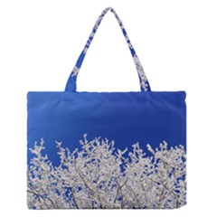 Crown Aesthetic Branches Hoarfrost Zipper Medium Tote Bag