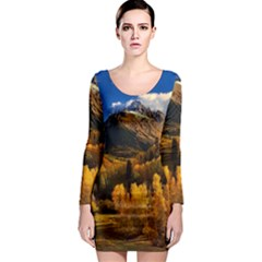 Colorado Fall Autumn Colorful Long Sleeve Bodycon Dress