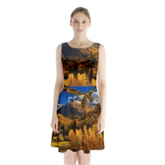 Colorado Fall Autumn Colorful Sleeveless Waist Tie Chiffon Dress