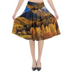 Colorado Fall Autumn Colorful Flared Midi Skirt by BangZart